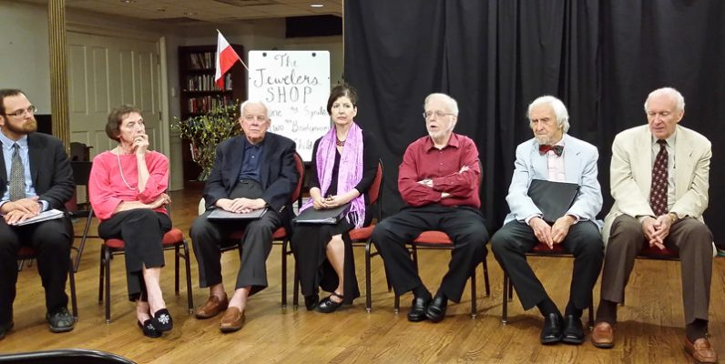 The performers of the play by St. John Paul II discuss it and their roles during a discussion with guests after the performance on July 15.
