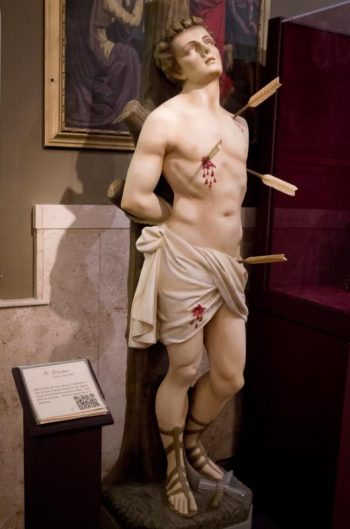 A statue of St. Sebastian is seen in the Museum of Divine Statues in Lakewood, Ohio. (CNS photo/Dennis Sadowski)
