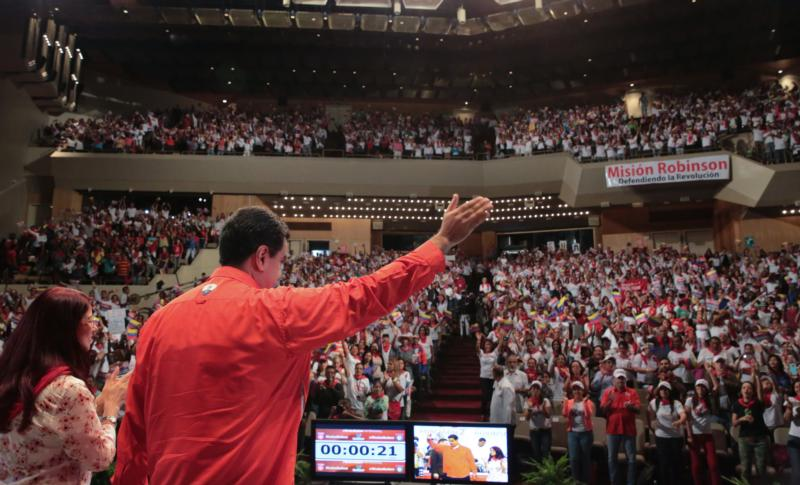 Venezuelan President Nicolas Maduro waves to government sympathizers in Caracas July 2. (CNS photo/Handout via EPA)