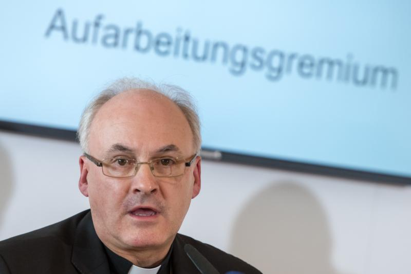 Bishop Rudolf Vorderholzer speaks about cases of sexual abuse in the Domspatzen choir during a press conference in Regensburg, Germany, Oct. 12, 2016. (CNS photo/Armin Weigel, EPA)