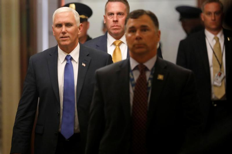 U.S. Vice President Mike Pence arrives prior to an all-night round of health care votes on Capitol Hill July 27 in Washington. (CNS photo/Aaron P. Bernstein, Reuters)