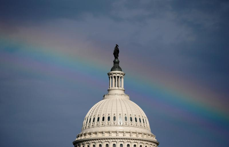 A rainbow shines over the U.S. Capitol in Washington July 24. (CNS photo/Joshua Roberts, Reuters)