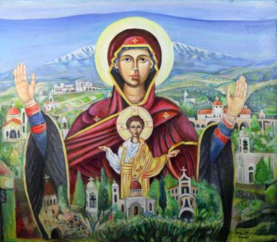 A painting by Farid Georges, a Syriac Christian from Homs, Syria, now living in England, shows his country at peace before it descends into war. (CNS photo/Simon Caldwell)