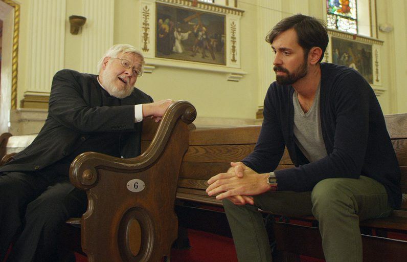 """Tom Morton and Ryan Wesley Gilreath star in a scene from the movie """"The Tribunal."""" The Catholic News Service classification is A-III -- adults. The Motion Picture Association of America rating is PG-13 -- parents strongly cautioned. Some material may be inappropriate for children under 13. (CNS photo/107 Productions)"""