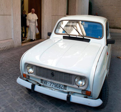 "A white 1984 Renault that Father Renzo Zocca donated to Pope Francis in 2013 highlights the importance of ""a poor church for the poor."" The Italian priest put more than 180,000 miles on the car, ministering to drug addicts and the poor. Pope Francis told the priest he had the same make and model when he worked in Buenos Aires, Argentina, and it ""never let him down."" (CNS photo/L'Osservatore Romano via Catholic Press Photo)"