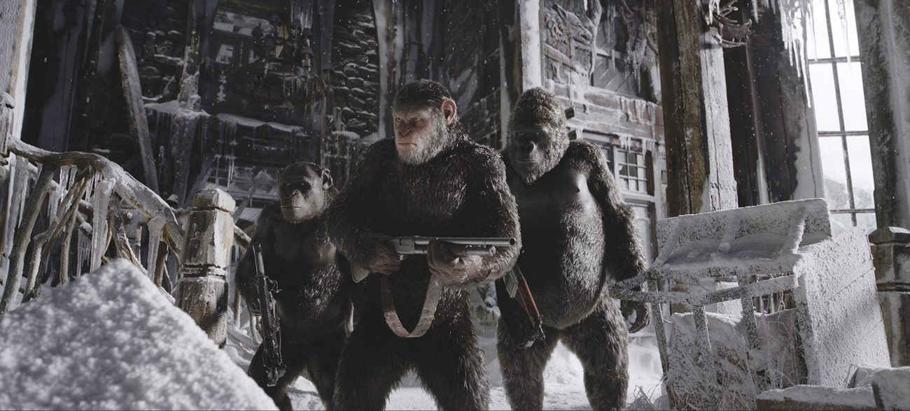 """This is a scene from the movie """"War for the Planet of the Apes."""" The Catholic News Service classification is A-III -- adults. The Motion Picture Association of America rating is PG-13 -- parents strongly cautioned. Some material may be inappropriate for children under 13. (CNS photo/Fox)"""