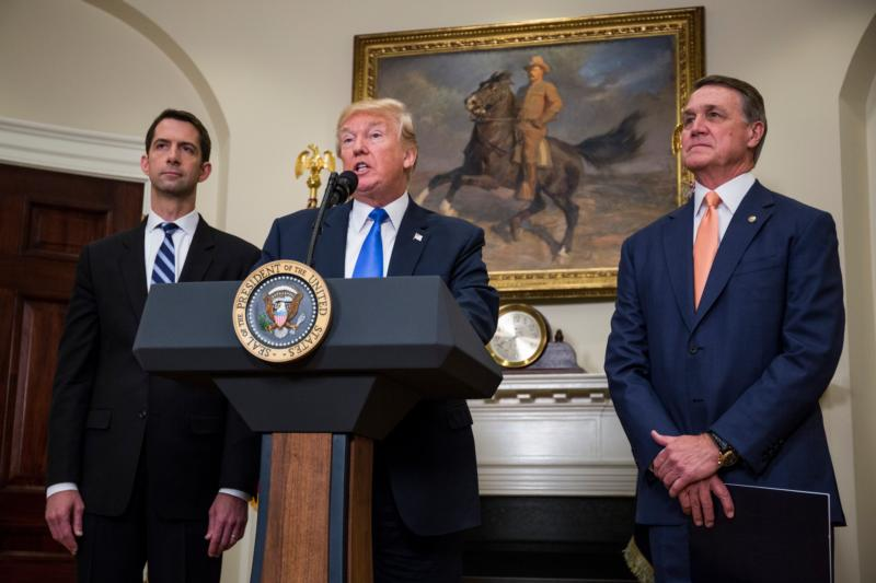 U.S. President Donald Trump makes an announcement on the introduction in the Senate of the Reforming American Immigration for Strong Employment Act, or RAISE, with Sens. Tom Cotton, R-Ark., and David Perdue, R-Ga., at the White House Aug. 2. (CNS photo/Zach Gibson, pool via EPA)