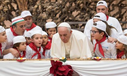 Children serenade pope on 81st birthday; he appeals for kidnapped nuns