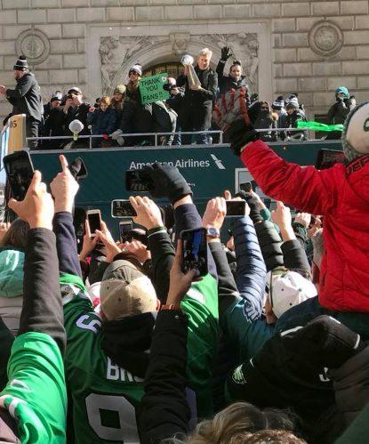 Jon Dorenbos Rides Eagles Bus During Super Bowl Parade