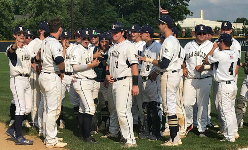celebrates its PIAA Class 6A quarterfinal win, 13-0 over Manheim Township High School, June 7 in Lancaster.
