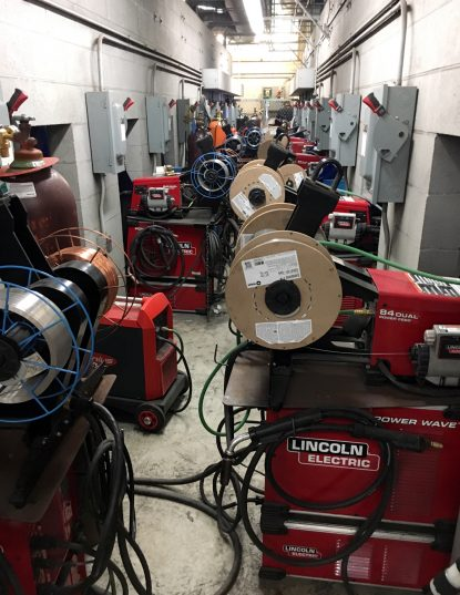 Welding equipment recently delivered to Father Judge High School will be readied for use in the new program starting with about 68 students in the coming academic year this September.