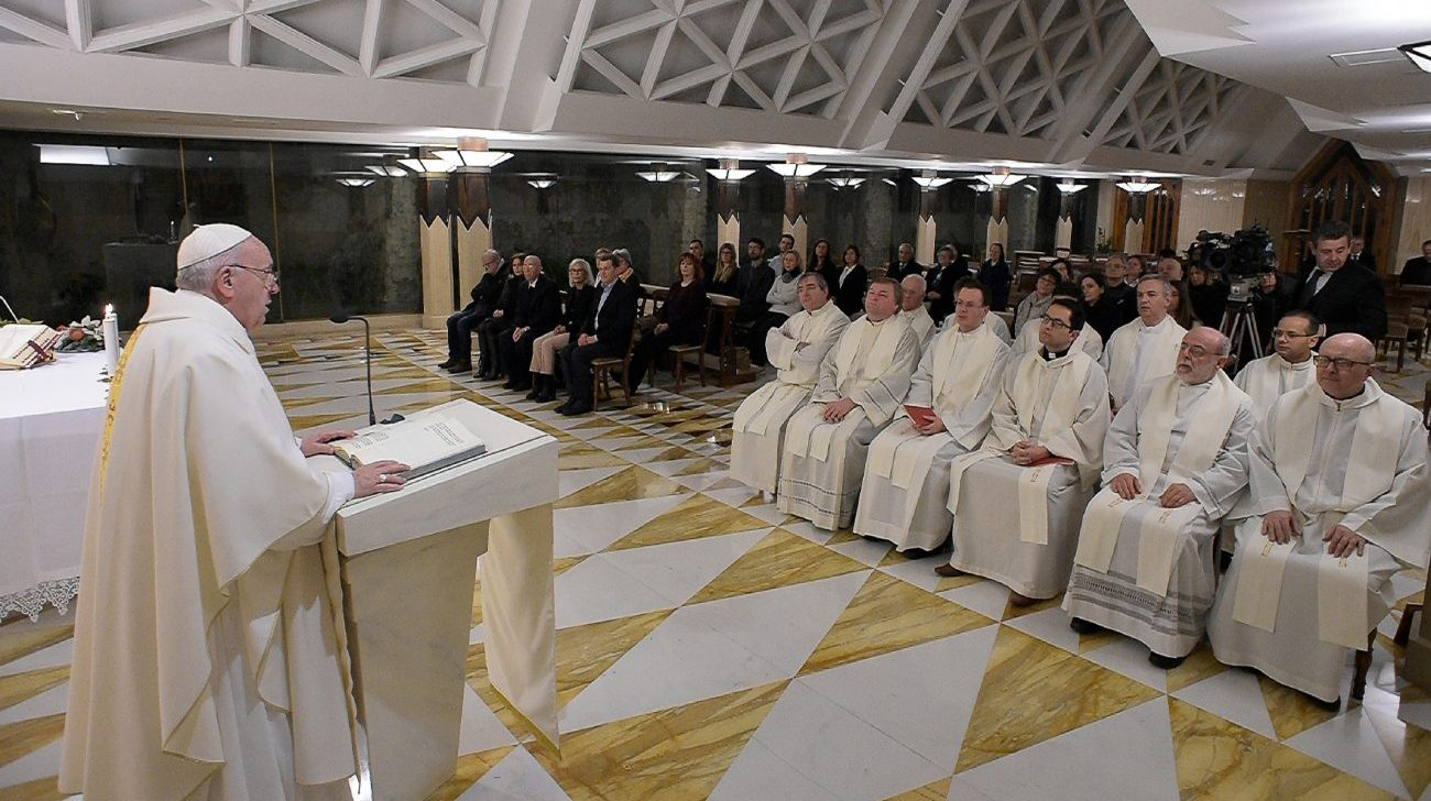 Pope Francis deliver the homily during morning Mass in the chapel of his residence, the Domus Sanctae Marthae, at the Vatican Jan. 9, 2020. People cannot call themselves Christians if they sow the seeds of war, Pope Francis said. (CNS photo/Vatican Media)